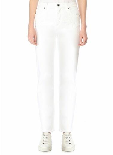 Etro Etro  Normal Bel Etnik Desen Detaylı Jean Pantolon 101617936 Beyaz